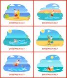 Feriado do Natal no verão, Santa Claus na praia ilustração do vetor