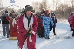 Feriado do zimovka de Altaiskaya - o primeiro dia do inverno fotos de stock royalty free