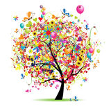 Feriado feliz, árvore engraçada com baloons Fotografia de Stock