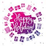 Feriado feliz! Caligrafia elegante Fotos de Stock Royalty Free