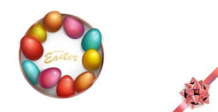 Feriado feliz da Páscoa com ovo colorido Projeto da caixa escura para o cartão, o convite etc. do partido ilustração do vetor