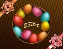Feriado feliz da Páscoa com ovo colorido Projeto da caixa escura para o cartão, o convite etc. do partido ilustração royalty free