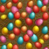 Feriado feliz da Páscoa do fundo sem emenda com o ovo colorido na cesta Projeto para o cartão, o convite etc. do partido ilustração stock