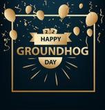 Feriado feliz do cartão do dia de groundhog Fotos de Stock