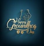 Feriado feliz do cartão do dia de groundhog Imagens de Stock Royalty Free