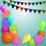 Feriado festivo do ` s das crianças do fundo com bolas e as bandeiras coloridas na luz - fundo azul ilustração stock