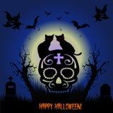Feriado Halloween Os gatos do preto dois sentam-se no crânio, cemitério da noite, ilustração do vetor