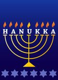Feriado Hanukkah; Menorah iluminado Imagens de Stock