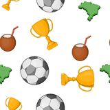 Feriado no teste padrão de Brasil, estilo dos desenhos animados Imagens de Stock