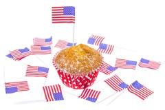 Feriado patriótico 4o julho: queques com bandeira americana Imagem de Stock Royalty Free
