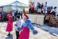 Feriado popular Maslenitsa do russo na região de Kaluga Imagem de Stock