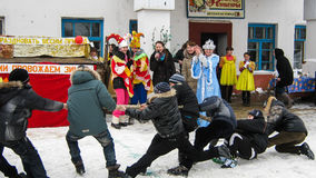 Feriado popular Maslenitsa do russo na região de Kaluga Imagem de Stock Royalty Free