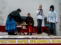 Feriado popular Maslenitsa do russo na região de Kaluga Fotografia de Stock