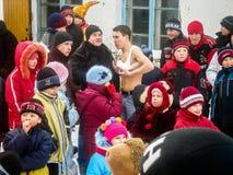 Feriado popular Maslenitsa do russo na região de Kaluga Fotos de Stock Royalty Free