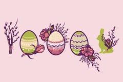 Feriado religioso da Páscoa Um grupo de emblemas com Páscoa pintou ovos, flores, salgueiros e coelho coleção ilustração do vetor