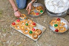 Feriados da Páscoa na vila da ilha dos olympos de Karpathos em greece Foto de Stock Royalty Free