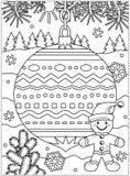 Feriados de inverno que colorem a página com o homem decorado do ornamento e do gengibre ilustração do vetor
