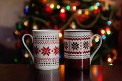 feriados, Natal, inverno, alimento e conceito das bebidas - ascendente próximo Imagens de Stock