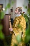 Ferie av den ortodoxa kyrkan på pingstdagen söndag i den Kaluga regionen i Ryssland på 19 Juni 2016 Royaltyfri Bild