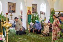Ferie av den ortodoxa kyrkan på pingstdagen söndag i den Kaluga regionen i Ryssland på 19 Juni 2016 Fotografering för Bildbyråer