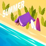 ferie Campa tent Hav Sommar Isometrisk illustration stock illustrationer