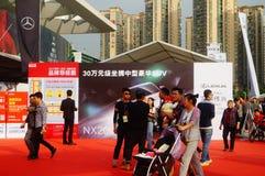 Ferie för dag för ` s för nytt år, landskap för plats Shenzhen för auto show, hålla ögonen på för många personer Arkivbilder