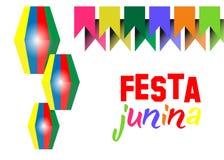 Ferie för Festa juninabakgrund Latin - amerikansk ferie, det Juni partiet av Brasilien Mång- färgvektor som isoleras på vit bakgr stock illustrationer