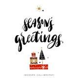 ferie för hälsningar för julsammansättning smyckar kall grön säsonger för fotopresentsred Julkalligrafi stock illustrationer