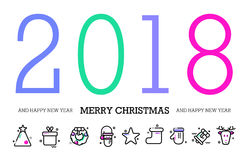 ferie för hälsningar för julsammansättning smyckar kall grön säsonger för fotopresentsred lyckligt nytt år 2018 Färgrik modern ab stock illustrationer