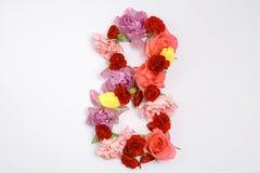 8 ferie för mars Origamihälsningkort med pappers- blommor Internationell lycklig dag för kvinna` s Arkivfoto