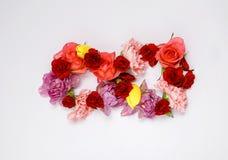 8 ferie för mars Origamihälsningkort med pappers- blommor Internationell lycklig dag för kvinna` s Royaltyfria Foton
