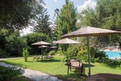 Ferie för pöl för gräs för träd för paraplyer för sugrör för hotellsemesterortträdgård arkivbild