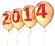 Ferie för parti för ballonger för nytt år 2014 guld- Arkivfoto