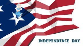 Ferie för självständighetsdagen för farbror Sam United States Flag Happy amerikansk Arkivbild
