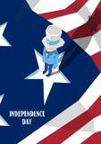 Ferie för självständighetsdagen för farbror Sam United States Flag Happy amerikansk Fotografering för Bildbyråer