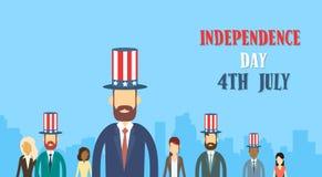 Ferie för självständighetsdagen för hatt för flagga för Förenta staterna för kläder för grupp för affärsfolk Arkivfoto