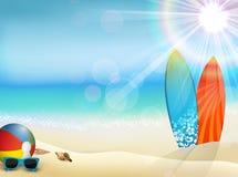 Ferie i strand på sommaren royaltyfri illustrationer