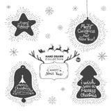 Ferie och jul räcker uppsättningen för teckningshälsningkortet stock illustrationer