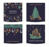Ferie och jul räcker uppsättningen för teckningshälsningkortet också vektor för coreldrawillustration stock illustrationer
