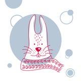 Ferie- och julillustration av en gullig kanin i halsduk stock illustrationer