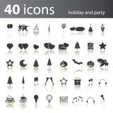 40 ferie- och partisymboler vektor illustrationer