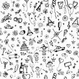 Ferie skissar, seamless bakgrund royaltyfri illustrationer