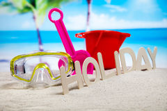 Ferie sommar, strandbakgrund, livlig färgrik atmosfär Royaltyfri Fotografi
