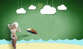 2 ferie sommar text för rest för bild för com-begreppsfigurine höger plattform Fotografering för Bildbyråer