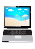 feriebärbar dator Royaltyfri Foto