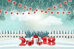 Feriebakgrund för nytt år med nummer 2018, gåvor och vinterlandskap stock illustrationer