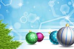 Feriebakgrund med julgranen och prydnader Stock Illustrationer