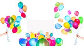 Feriebaner med färgrika ballonger Arkivbilder