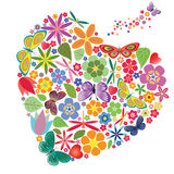 Feriehjärta med blommor och fjärilar Arkivfoton