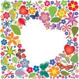 Feriehjärta med blommor och fjärilar Royaltyfria Foton